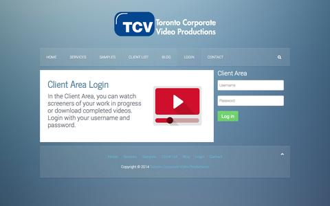 Screenshot of Login Page torontocorporatevideo.com - Toronto Corporate Video Productions - Login - captured Oct. 9, 2014