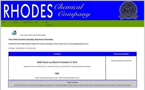 Screenshot of Home Page rhodeschem.com captured Oct. 6, 2014