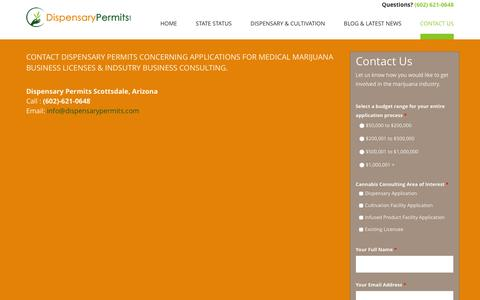 Screenshot of Contact Page dispensarypermits.com - Contact Us - Dispensary Permits Cannabis Consulting - captured Feb. 13, 2016