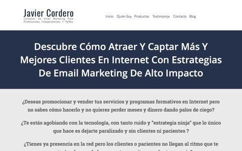 Screenshot of Home Page javiercordero.com - Javier Cordero | Consultor y experto en email marketing - captured Dec. 4, 2016