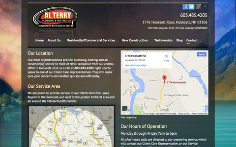 Screenshot of Contact Page alterryplumbing.com - Locations Plumbing Heating AC Services Repair Manchester NH | Al Terry Plumbing & Heating - captured Oct. 4, 2014