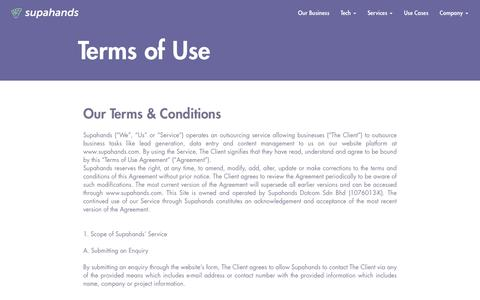 Screenshot of Terms Page supahands.com - Terms of Use - captured Oct. 20, 2018