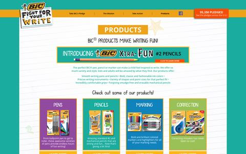 Screenshot of Products Page bicfightforyourwrite.com - BIC Fight For Your Write - captured Sept. 25, 2015