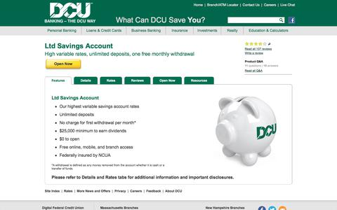 Ltd Savings | High Rate Money Market | DCU | MA | NH