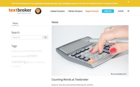Screenshot of Press Page textbroker.com - News Archive | textbroker.com - captured Aug. 16, 2019