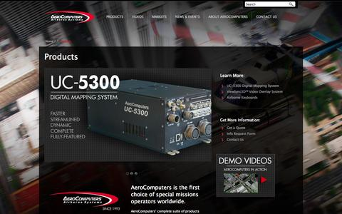 Screenshot of Products Page aerocomputers.com - Mission Management Systems, Augmented Reality Overlays, HD LCD Displays and Rugged Keyboards - captured Oct. 4, 2014