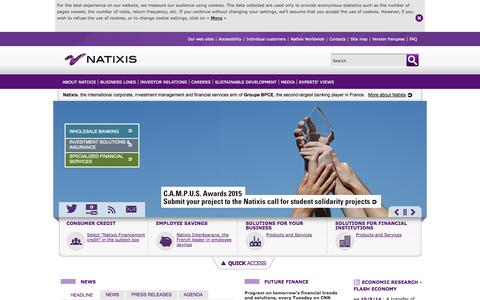 Screenshot of Menu Page natixis.com - Natixis, the international corporate, investment management and financial services bank of Groupe BPCE - captured Oct. 12, 2014