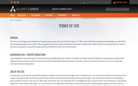Screenshot of Terms Page alertlogic.com - Terms of Use - captured March 11, 2017