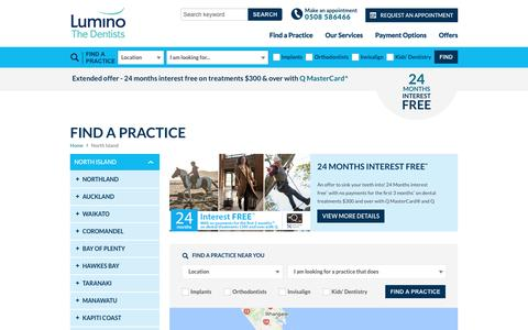 Screenshot of Menu Page lumino.co.nz - Dental Practices In The North Island - Lumino The Dentists - captured Nov. 14, 2016