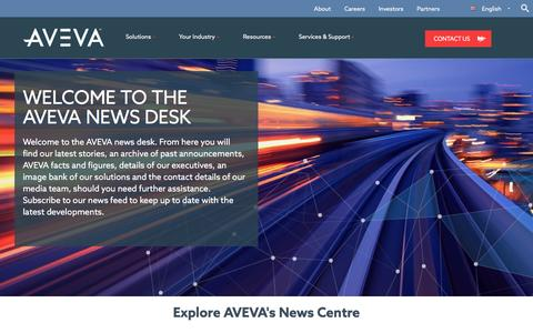 Screenshot of Press Page aveva.com - AVEVA's News Centre, including press releases and facts and figures - captured April 10, 2017