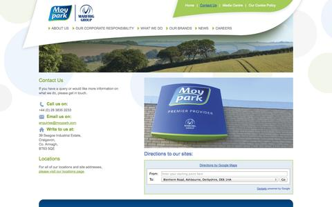 Screenshot of Contact Page moypark.com - Welcome to Moy Park Limited - Contact Us - captured Oct. 30, 2014
