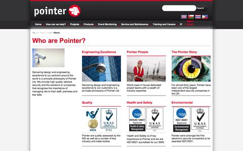 Screenshot of About Page pointer.co.uk - Pointer: Secure the Future - captured Sept. 26, 2014