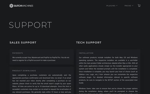 Screenshot of Support Page glitchmachines.com - Support – Glitchmachines - captured July 18, 2018