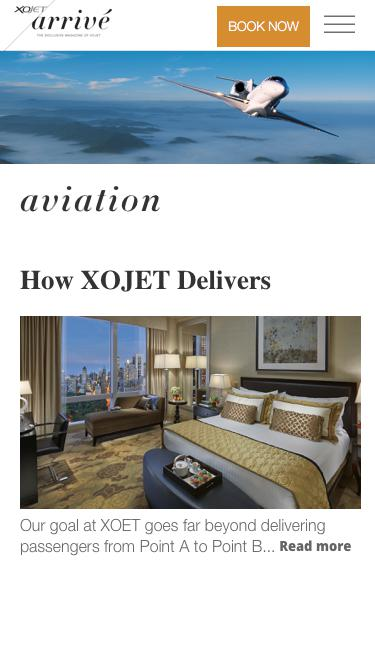 Screenshot of Blog  xojet.com - Aviation Blog Article Archive | XOJET Arrivé