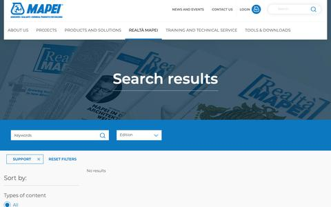 Screenshot of Support Page mapei.com - Search results | Mapei - captured Oct. 16, 2018