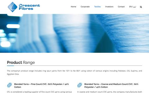 Screenshot of Products Page crescentfibres.com - Products - captured Nov. 12, 2016
