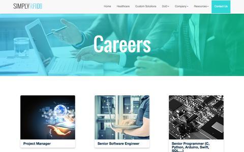 Screenshot of Jobs Page simplyrfid.com - SimplyRFID - Careers - captured Sept. 20, 2018
