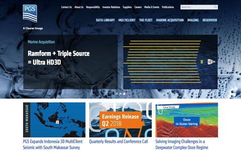 Screenshot of Home Page pgs.com - Marine geophysics, seismic surveys, subsurface imaging | Petroleum Geo-Services | PGS - captured July 15, 2018
