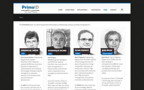 Screenshot of Team Page primo1d.com - Team - Primo1D - captured Sept. 30, 2014