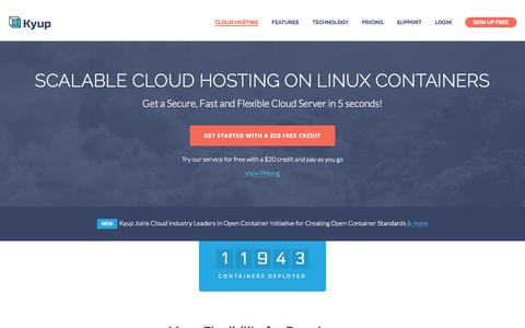 Screenshot of Home Page getclouder.com - Scalable Cloud Hosting on Linux containers - captured Aug. 31, 2015