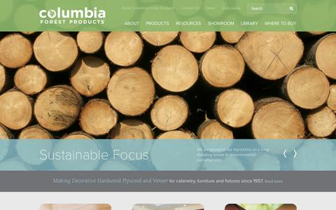 Screenshot of Home Page columbiaforestproducts.com - Columbia Forest Products. Hardwood plywood & veneers - captured Jan. 27, 2015