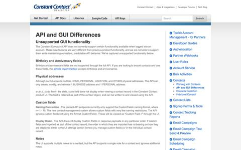 Screenshot of Developers Page constantcontact.com - API and GUI Differences | Constant Contact Developer - captured Dec. 5, 2017