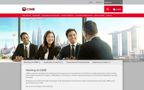 Screenshot of Jobs Page cimb.com - Working at CIMB - captured Sept. 23, 2014