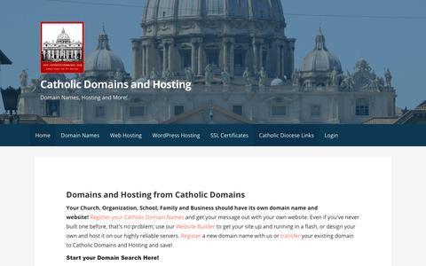 Screenshot of Home Page catholicdomains.org - Catholic Domains and Hosting - Catholic Domain Names and Hosting - captured Sept. 27, 2018