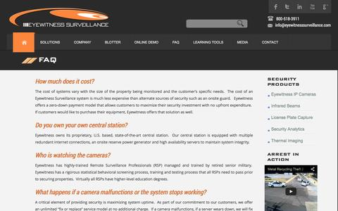 Screenshot of FAQ Page eyewitnesssurveillance.com - Eyewitness Surveillance  FAQ - Eyewitness Surveillance - captured Oct. 28, 2014