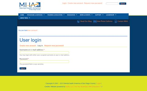 Screenshot of Login Page mhasd.org - User login | iyo713.dev4.webenabled.net - captured Oct. 27, 2014