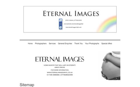 Screenshot of Site Map Page eternal-images-rhyl.co.uk - Professional mobile photography in Rhyl and the North Wales area - captured Aug. 26, 2017