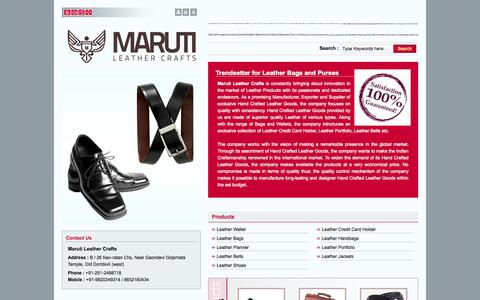 Screenshot of Home Page marutileathercrafts.in - Fine Leather Products,Designer Leather Handbags,Leather Planner Manufacturers in India - captured Sept. 30, 2014