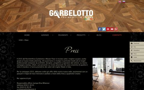 Screenshot of Press Page garbelotto.it - La campagna stampa del parchettificio Garbelotto e Master Floor | Garbelotto - captured Jan. 25, 2016