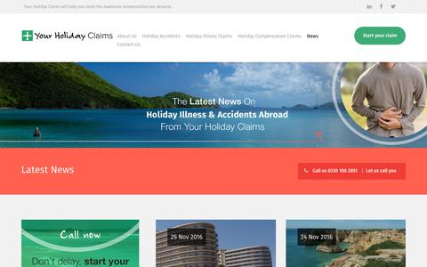 Screenshot of Press Page yourholidayclaims.co.uk - Latest news on outbreaks of sickness in package holiday hotels - captured Nov. 28, 2016