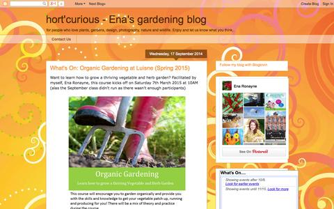 Screenshot of Home Page thegardendesignco.blogspot.com - hort'curious - Ena's gardening blog - captured Oct. 7, 2014