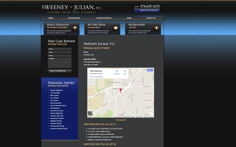 Screenshot of Contact Page Maps & Directions Page theverdict.com - Contact Sweeney Julian, PC | South Bend Personal Injury Firm - captured Nov. 5, 2014