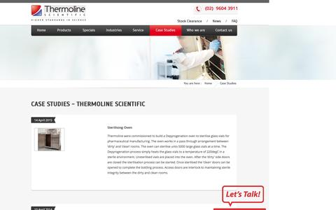 Screenshot of Case Studies Page thermoline.com.au - Case Studies - Thermoline Scientific - captured Feb. 16, 2016