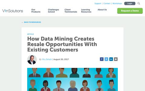 Screenshot of Blog vinsolutions.com - VinSolutions - Blog - How Data Mining Creates Resale Opportunities - captured Dec. 3, 2019