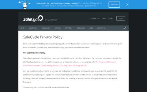 Screenshot of Privacy Page salecycle.com - SaleCycle Privacy Policy - captured July 20, 2016
