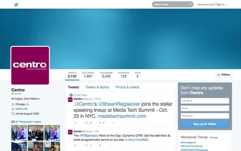 Screenshot of Twitter Page twitter.com - Centro (@Centro) | Twitter - captured Oct. 22, 2014