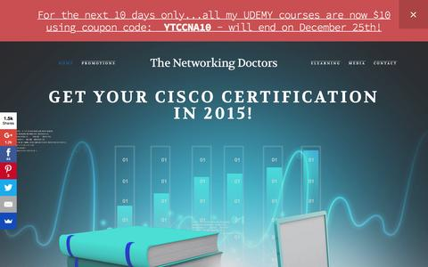 Screenshot of Home Page thenetworkingdoctors.com - Your one stop shop for all your certification needs! - captured Jan. 11, 2016