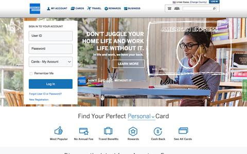 Screenshot of Home Page americanexpress.com - American Express Credit Cards, Rewards, Travel and Business Services - captured Aug. 31, 2018