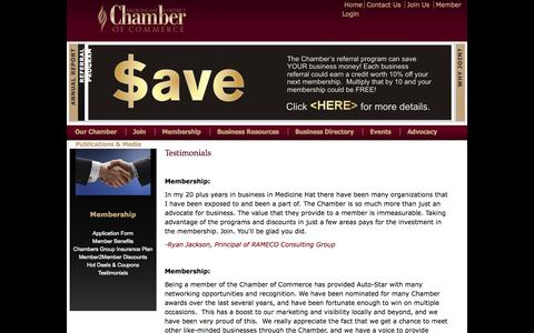 Screenshot of Testimonials Page medicinehatchamber.com - Testimonials | Medicine Hat & District Chamber of Commerce - captured Oct. 4, 2014