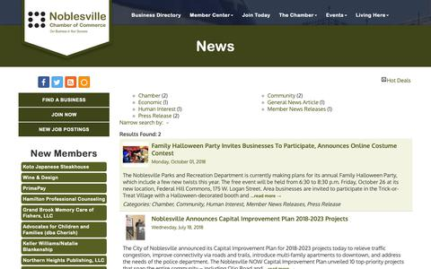 Screenshot of Press Page noblesvillechamber.com - News - Noblesville Chamber of Commerce, IN - captured Oct. 18, 2018