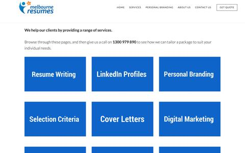 Screenshot of Services Page melbourneresumes.com.au - Resume Services |Professional Resume Writing Services - captured Oct. 17, 2018