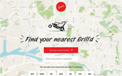 Screenshot of Locations Page grilld.com.au - Restaurants - Grill'd Healthy Burgers - captured Nov. 5, 2018