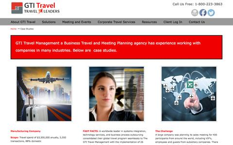 Screenshot of Case Studies Page gtitravel.com - Case Studies | GTI Travel - captured Oct. 18, 2016