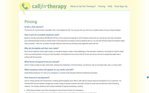 Screenshot of Pricing Page callfortherapy.com - Pricing   Call for Therapy - captured Sept. 27, 2014