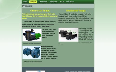 Screenshot of Products Page hybridpumps.com - Products - captured Oct. 3, 2014