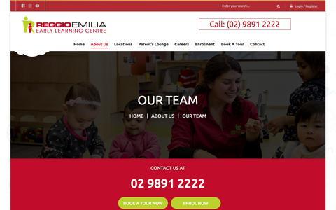Screenshot of Team Page reggioemilia.com.au - Our Team – Reggio Emilia ELC - captured Nov. 12, 2017